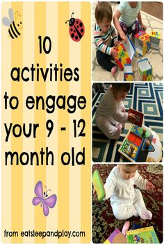 simple activities to engage your 9-12 month old 10 Month Old Baby Activities, Diy Toys For 10 Month Old, 12 Month Toys, List Of Activities, 10 Month Old Milestones, Montessori Activities, Infant Activities, Learning Activities, Baby Activites