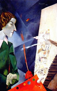 Marc Chagall self-portrait with palette, 1917