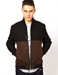Religion @ ASOS Wool Blend Bomber Jacket in Black/Khaki XL / 42 -44  Chest
