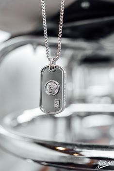 Elite Jewels Genuine Sterling Silver Satin Finish Dog Tag with Chain