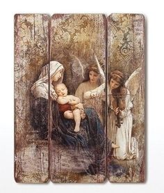 Roman 26 Joseph's Studio Distressed Antique-Style Song of the Angels Religious Panel Wall Decor, Brown Religious Photos, Religious Art, Religious Gifts, Decoupage On Canvas, Wooden Wall Plaques, Song Of Style, Madonna And Child, Historical Art, Catholic Art