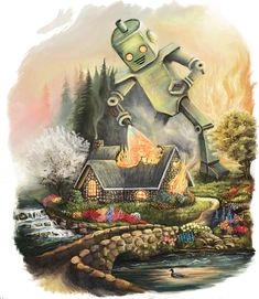 Nathan Stillie - Firelight Cottage take that Thomas Kinkade painting Thomas Kinkade, Art And Illustration, Illustrations, Robot Painting, Painting Art, Thrift Store Art, Kinkade Paintings, Cottage Art, Cottage Design