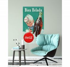 Add Coca-Cola vintage style to your decor! The Sprite Boy Bien Helada Decal applies to flat surfaces easily. Made in the USA. Available in and 60 inch sizes. Retro Living Rooms, Living Room Decor, Coca Cola Decor, Vintage Style, Vintage Fashion, Wall Borders, Metal Panels, Panel Art, Retro Home