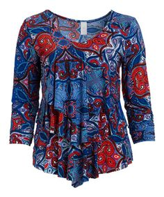 Love this Blue & Red Medallion Tiered V-Neck Ruffle Top - Plus on #zulily! #zulilyfinds