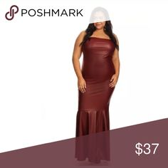 """Plus Faux Leather Burgundy Strapless Maxi Dress I'm very proud of this dress. After selling for 10 years for the first time we suggested a style idea to the vendor and they made it! This dress is specifically designed by me with my customers in mind!   Featuring a GORGEOUS long faux leather mermaid style maxi dress. Strapless tube style. Flared out hourglass pleated mermaid style hem that flares out from around the knee area. Sexy stretchy body forming fit.   Model is 38D x 34 X 46 and 5'7""""…"""