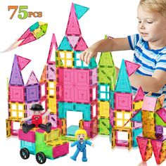 HOMOFY Kids Magnet TilesToys 75Pcs Oversize 3D Magnetic Building Blocks Tiles Set,Inspirational Educational Toys for 3 4 5 6 Year Old Boys Gilrs Gifts -- You can get additional details at the image link. (This is an affiliate link)