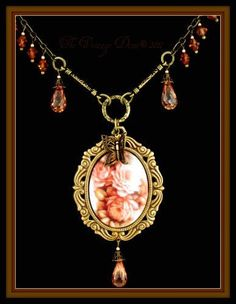 Rose Bouquet Victorian Style Porcelain Cameo Necklace w/ Crystal Briolettes