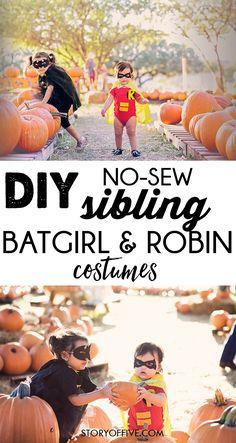 Cute Halloween Sibling Costume Ideas Batgirl Robin