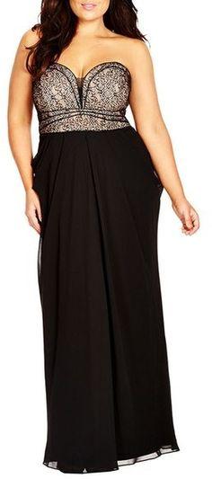 City Chic 'Motown' Strapless Lace & Chiffon Maxi Dress (Plus Size)