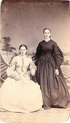 CDV of two Civil War era ladies (note how the style of the seated  woman's outfit is influenced by military uniforms) taken by Saylor's  New Photograph Gallery of Reading, Pennsylvania