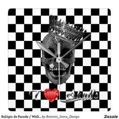 "Relógio de Parede / Wall Watch - "" I love skulls """