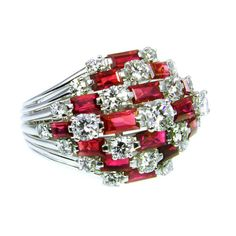 Van Cleef & Arpels Ruby Diamond Platinum Dome Ring, circa 1964 | From a unique collection of vintage fashion rings at https://www.1stdibs.com/jewelry/rings/fashion-rings/