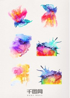 Watercolor ink pattern decorative elements
