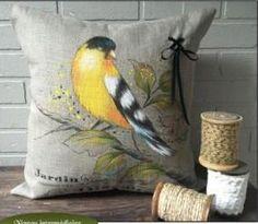 Karyne Viger Cute Cushions, Cute Pillows, Watercolor Flowers Tutorial, Flower Tutorial, Dot Art Painting, Fabric Painting, Burlap Pillows, Decorative Pillows, Painted Leather Jacket