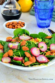 Roasted Radish, Spinach and Almond Salad with Balsamic Coconut Vinaigrette