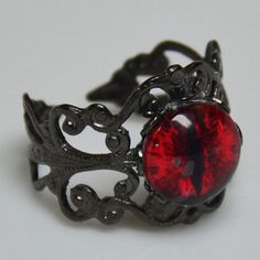 Red Fiery Dragon Eye Ring with Black Adjustable by DreamfulDesigns, $15.00