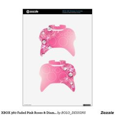 XBOX 360 Faded Pink Roses & Diamonds Skin Xbox 360 Controller Decal