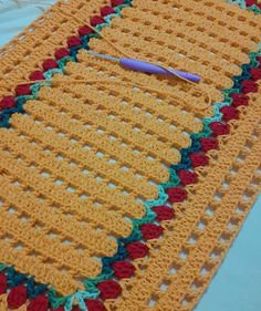 Crochet Table Mat, Crochet Squares, Lily, Blanket, Rugs, Crochet Rug Patterns, Easy Crochet, Crochet Trim, Embroidery