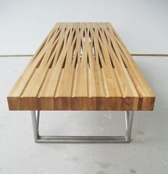 I like these using steam bent wood to create table slab and table sled with interesting patterns, from bookhou . Funky Furniture, Wood Furniture, Living Room Furniture, Furniture Design, Bent Wood, Bending Wood, Modern Bench, Furniture Inspiration, Wood Table