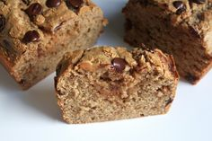 Whole Wheat Peanut Butter Banana Bread with Chocolate & Peanu Butter Chips  l  Baker by Nature