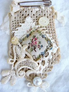 Vintage Lace and Crochet Kilt Pin Brooch Pendant от ShabbySoul: