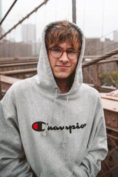 Kian Lawley wearing  Champion Reverse Weave Hooded Sweatshirt