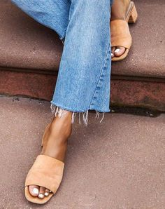 Slide / easy effortless fashion. Adore these suede slides with the un-cuffed denim jeans