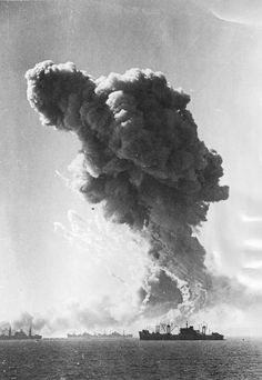 The explosion of a Liberty transport ship off the coast of Sicily, 1943