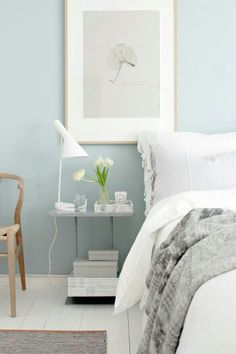 scandinavian bedroom design style is peaceful and simple, making it perfect for the bedroom. Here are rooms that accomplish you how to complete this Bedroom Colors, Bedroom Decor, Bedroom Ideas, Pastel Bedroom, Light Bedroom, White Bedroom, Bedroom Inspiration, Bedroom With Blue Walls, Light Blue Bedrooms