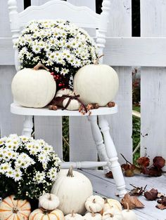 small front porch decorating ideas - white pumpkins in a variety of sizes and a few buckets of white mums will complete this easy DIY fall porch decor project. Decoration Shabby, Decoration Bedroom, Balcony Decoration, Decoration Christmas, Halloween Decorations, Holiday Decor, House Decorations, Indoor Fall Decorations, Thanksgiving Decorations Outdoor