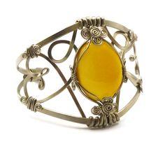 Wire Wrap Bracelet with Yellow Onyx stone by hyppiechic.deviantart.com on @deviantART