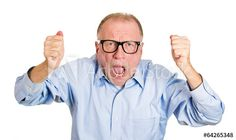 Portrait Angry older man screaming on white background