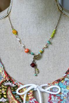 Miranda. colorful beaded boho charm necklace. by tiedupmemories, $42.00