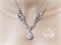 Wedding Necklace teardrop Zirconia pendant by PureRainDesigns, $38.00