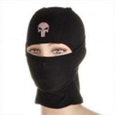 Cool Breathable Headgear Mask with Skull Head Pattern - Black