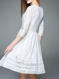 Pierced Lace Midi Dress