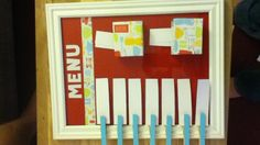 Menu planning board~I like the slips of paper. Maybe keep old ones for when you don't know what to make.