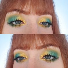 "128 gilla-markeringar, 7 kommentarer - Lucy (@lucy_anna) på Instagram: ""Bright colours cheer me up💖 . . . . #motd #eotd #eyeshadow #colourful #colours #bright #yellow…"""