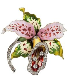An Art Nouveau Enamel, Diamond and Gold Brooch, attributed to Vever. The three dimensional brooch set with three old mine-cut diamonds with an approximate total weight of .45 carat and 57 rose-cut diamonds with the approximate total weight of .57 carat. The vibrantly enamelled orchid brooch has diamond set details. Circa 1900's.