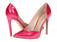 The Goulding    Bold and sexy in hot pink with a sweetheart vamp and a slightly iridescent sheen. These d'orsay power pumps demand serious attention but in the girliest possible way.