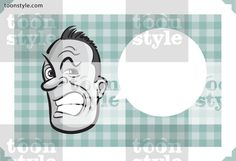 Greeting card with aggressive man face – place your custom text