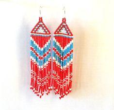 Beaded Native American Earrings Inspired.White Blue Red  Earrings.Christmas Gift. Beadwork