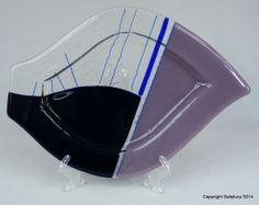 One of a kind - Bullseye Glass Plate Unique piece for a keepsake or as a special gift