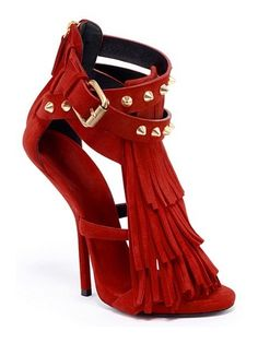 Giuseppe Zanotti Dark Red Fringe Sandal with Suds Spring 2013 #Shoes #Heels #Zanottis
