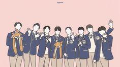 Exo Bts, Got7, Luhan, Exo Stickers, Cute Pastel Wallpaper, Exo Fan Art, Exo Lockscreen, Anime Love Couple, Exo Members