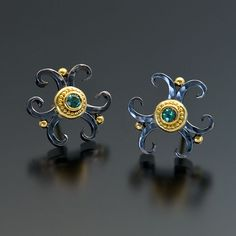 Zaffiro Jewelry Etrusco Collection — Floret Series Earrings Earrings are set with Mint Green Tourmalines (.24tcw) in granulated 22kt yellow gold with forged and oxidized sterling silver and 18kt yellow gold posts earrings