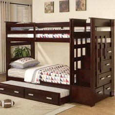 Allentown Espresso Finish Twin/Twin Bunk Bed (TRUNDLE INCLUDED)