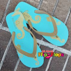 Sea Life Teal and Gold Seahorse Flip Flops