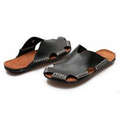 Stitching Holow Out Soft Sandals Breathable Backless Loafers (7.608 KWD) ❤ liked on Polyvore featuring men's fashion, men's shoes, men's sandals, mens leather loafer shoes, mens slip on shoes, mens backless shoes, mens leather slip on sandals and mens woven leather slip-on shoes
