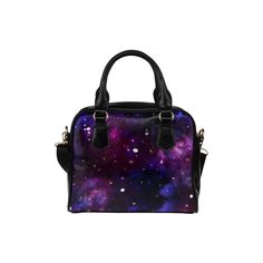 Midnight Blue Purple Galaxy Shoulder Handbag (Model 1634) ($29) ❤ liked on Polyvore featuring bags, handbags, shoulder bags, deluxephotos, purple shoulder bag, purple purse, shoulder bag handbag, shoulder handbags and shoulder hand bags